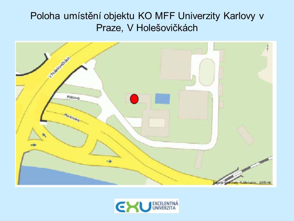 Poloha umístění objektu KO MFF Univerzity Karlovy v Praze, V Holešovičkách