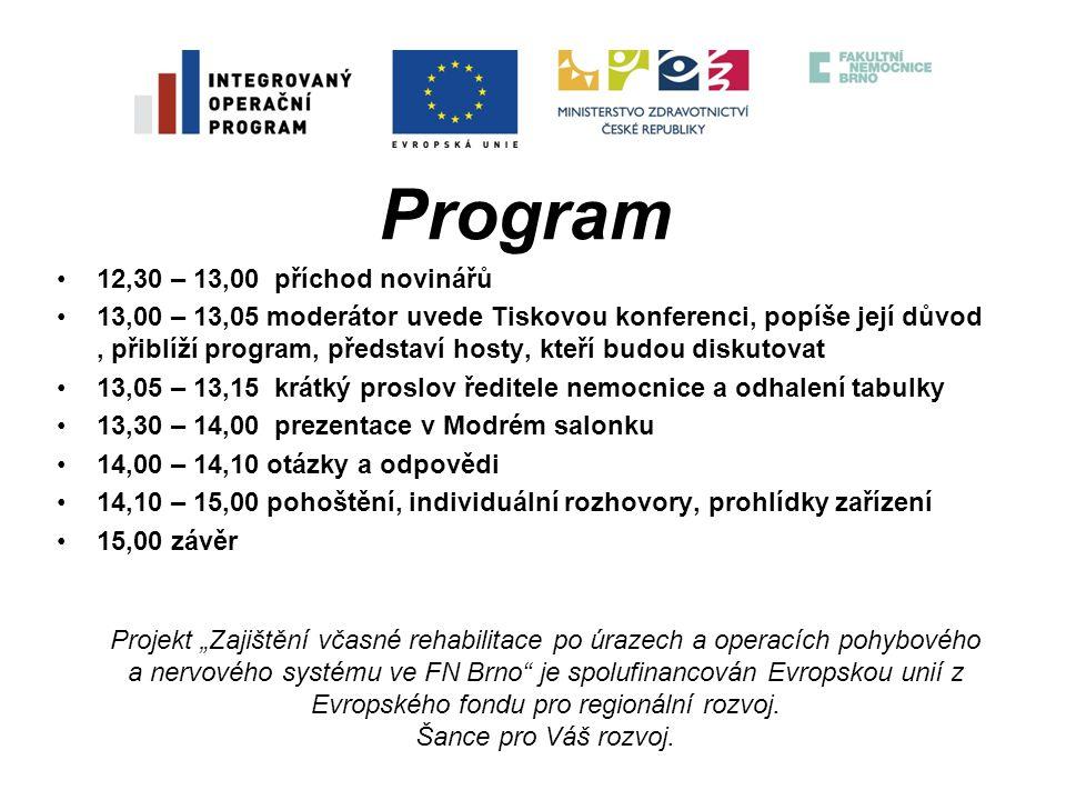 Program 12,30 – 13,00 příchod novinářů