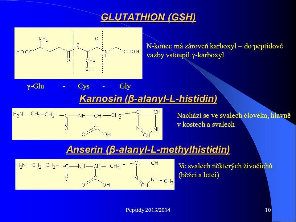 Karnosin (β-alanyl-L-histidin) Anserin (β-alanyl-L-methylhistidin)