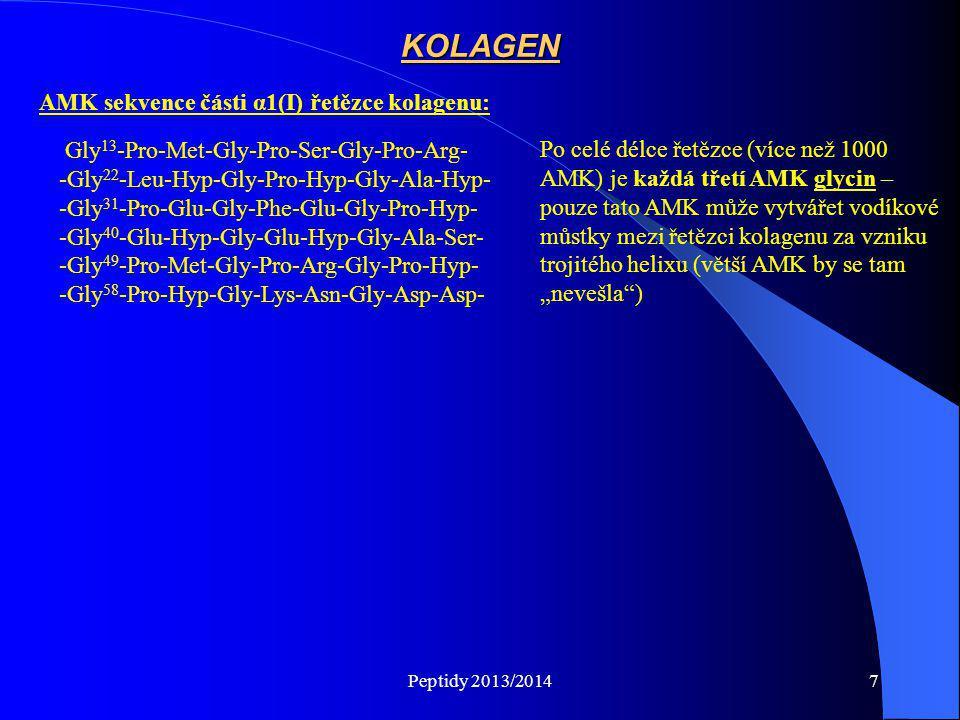 KOLAGEN AMK sekvence části α1(I) řetězce kolagenu: