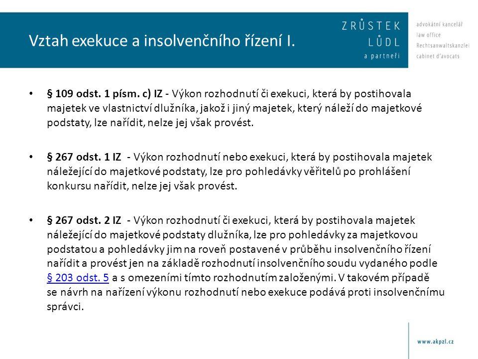 Vztah exekuce a insolvenčního řízení I.