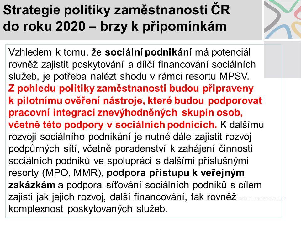 Strategie politiky zaměstnanosti ČR do roku 2020 – brzy k připomínkám