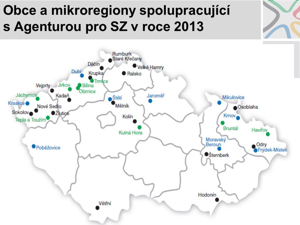 Obce a mikroregiony spolupracující s Agenturou pro SZ v roce 2013