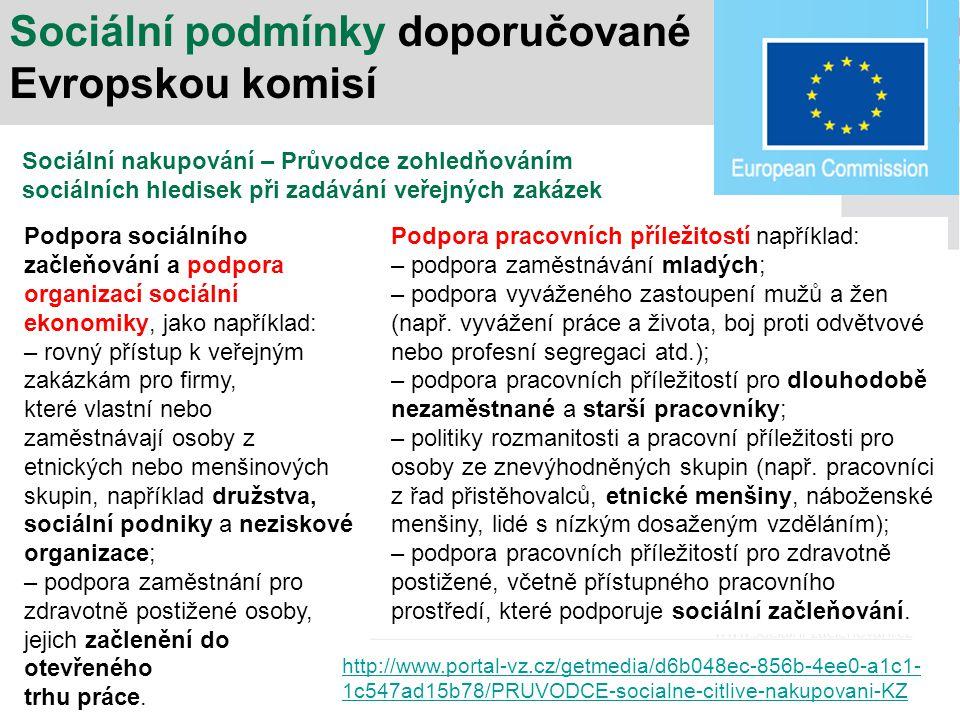 Sociální podmínky doporučované Evropskou komisí