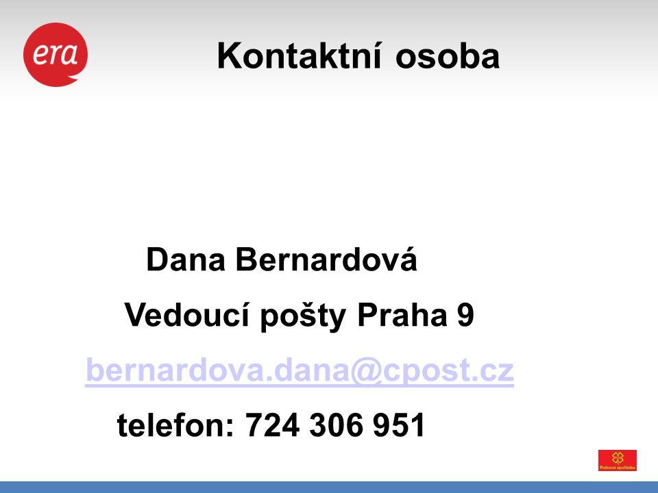 Kontaktní osoba Dana Bernardová Vedoucí pošty Praha 9 bernardova.dana@cpost.cz telefon: 724 306 951.