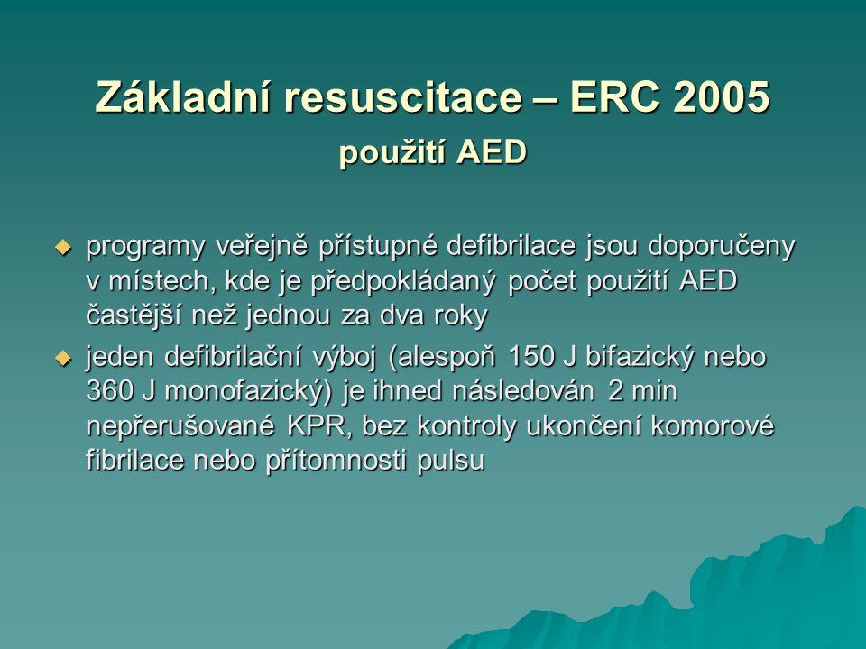 Základní resuscitace – ERC 2005 použití AED