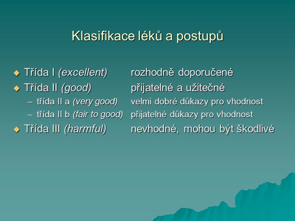 Klasifikace léků a postupů