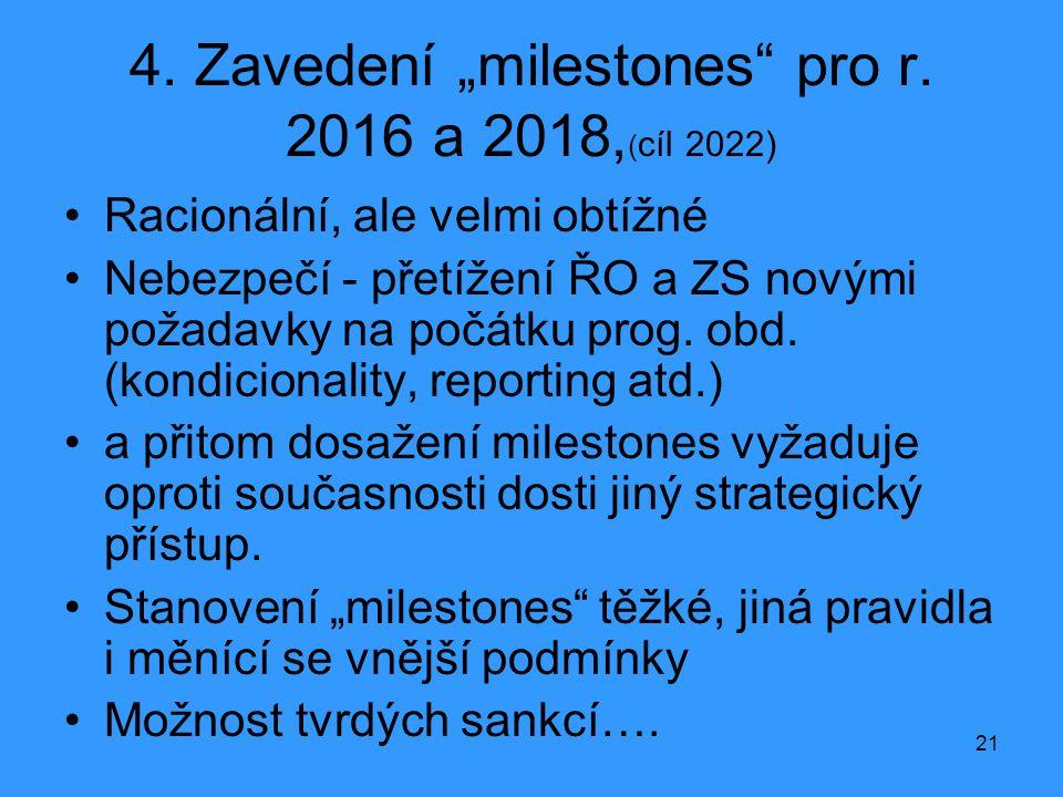 """4. Zavedení """"milestones pro r. 2016 a 2018,(cíl 2022)"""
