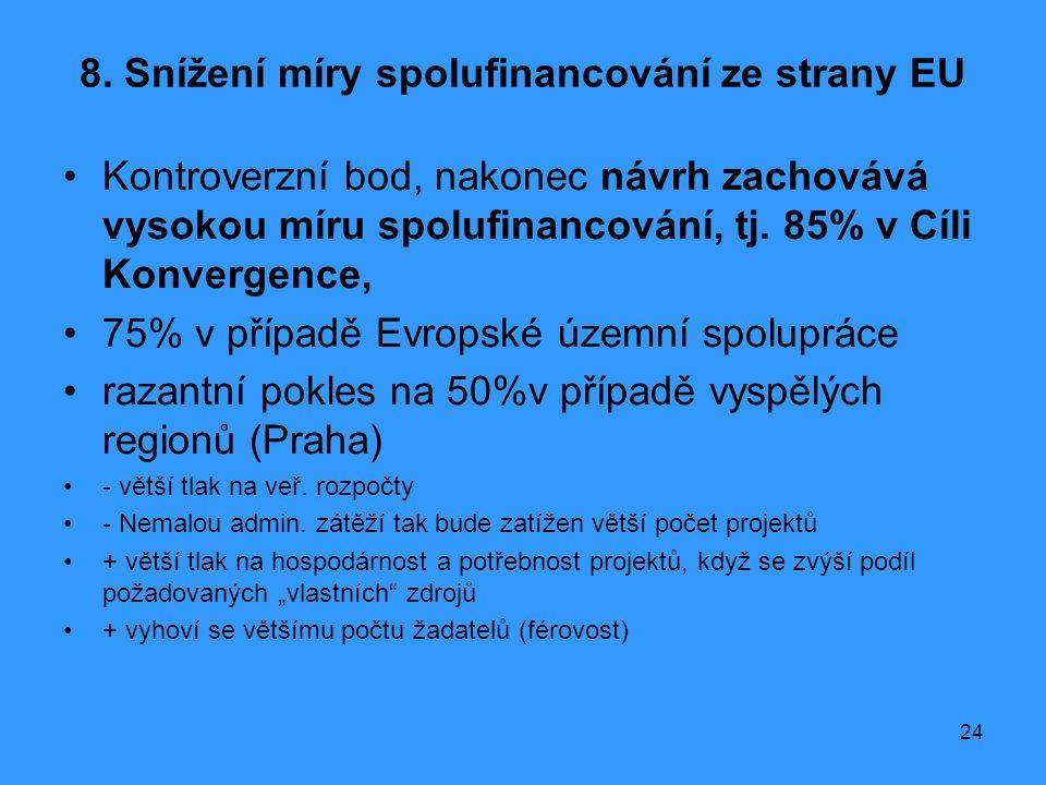 8. Snížení míry spolufinancování ze strany EU