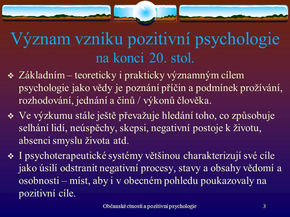 Význam vzniku pozitivní psychologie na konci 20. stol.