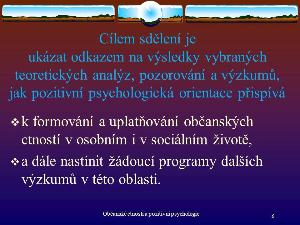 Občanské ctnosti a pozitivní psychologie