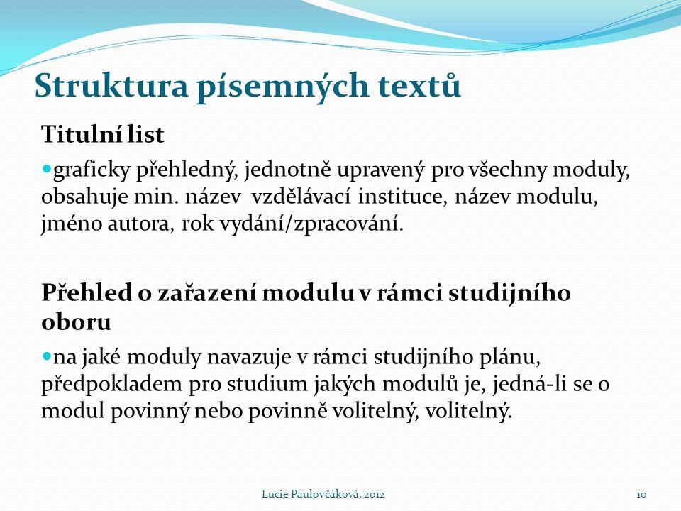Struktura písemných textů
