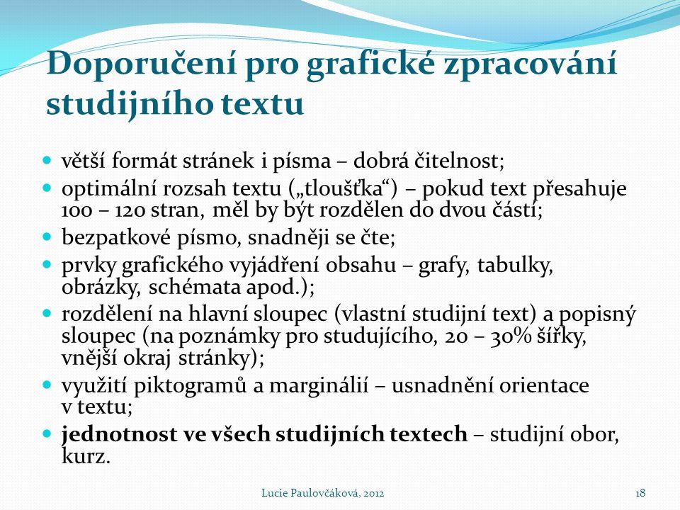 Doporučení pro grafické zpracování studijního textu