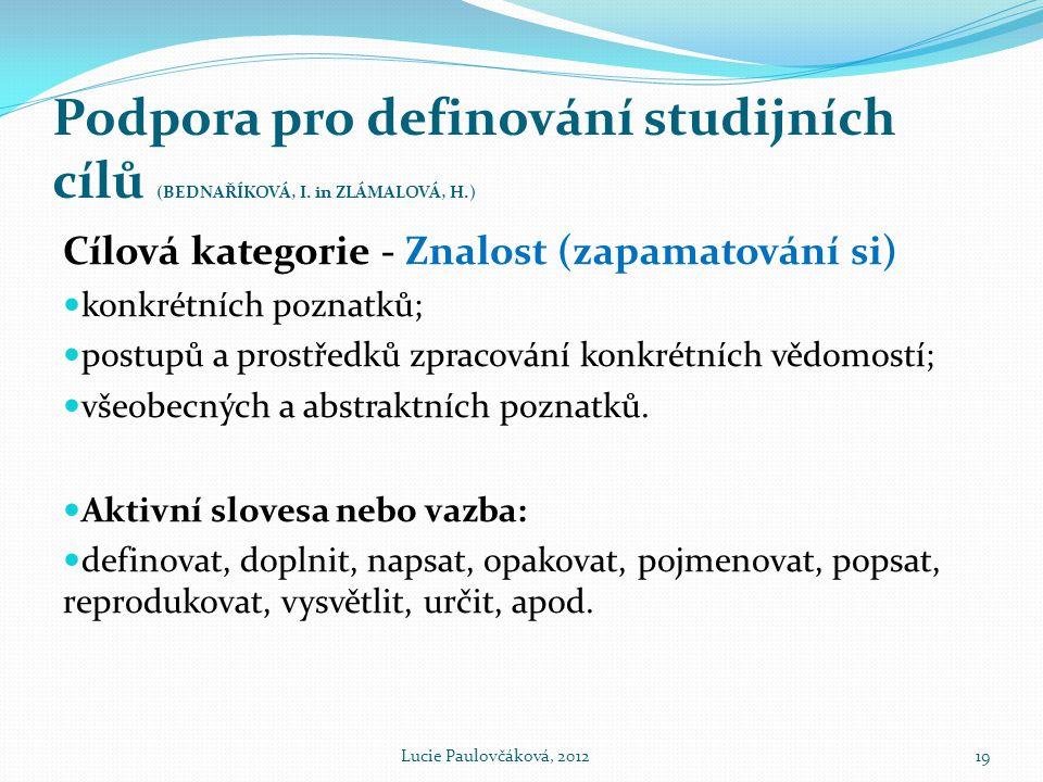 Podpora pro definování studijních cílů (BEDNAŘÍKOVÁ, I. in ZLÁMALOVÁ, H.)