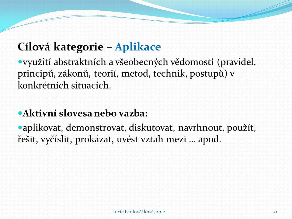 Cílová kategorie – Aplikace