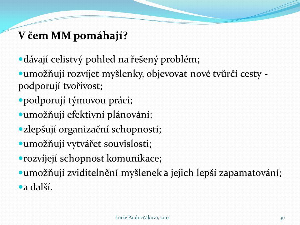 V čem MM pomáhají dávají celistvý pohled na řešený problém;
