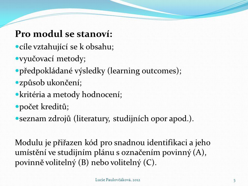 Pro modul se stanoví: cíle vztahující se k obsahu; vyučovací metody;