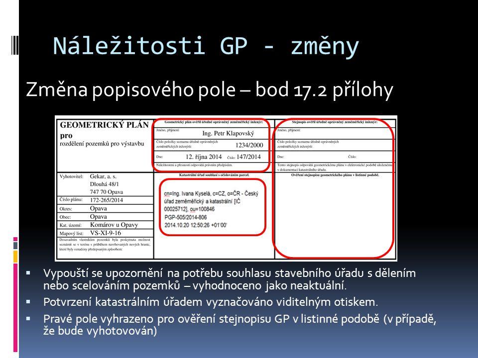 Náležitosti GP - změny Změna popisového pole – bod 17.2 přílohy
