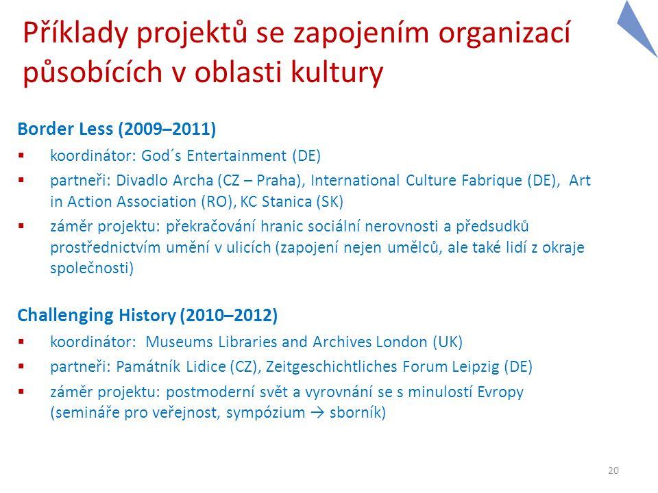 Příklady projektů se zapojením organizací působících v oblasti kultury