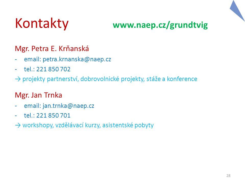 Kontakty www.naep.cz/grundtvig