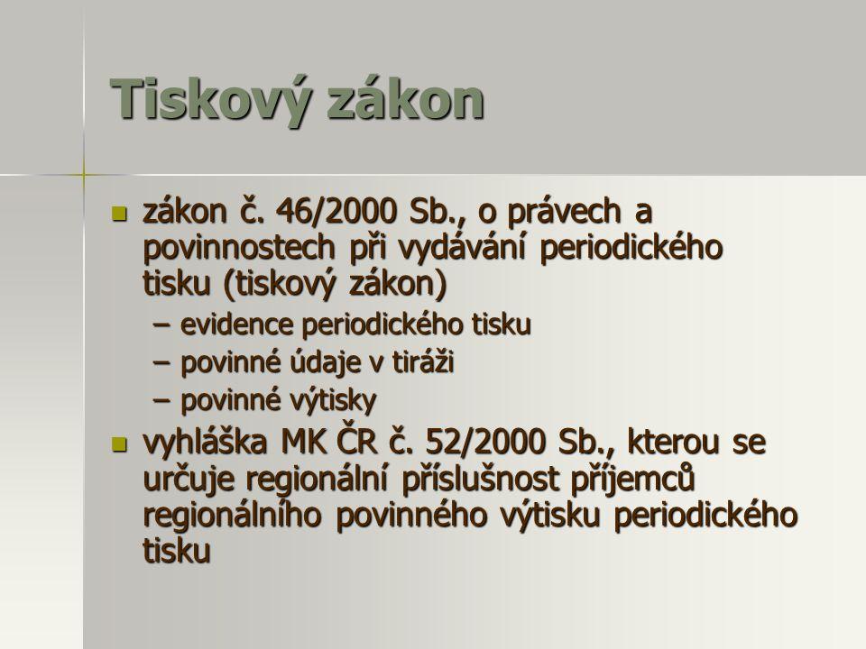 Tiskový zákon zákon č. 46/2000 Sb., o právech a povinnostech při vydávání periodického tisku (tiskový zákon)