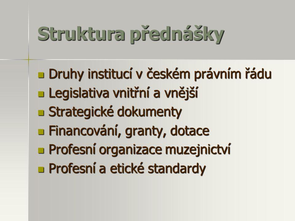 Struktura přednášky Druhy institucí v českém právním řádu