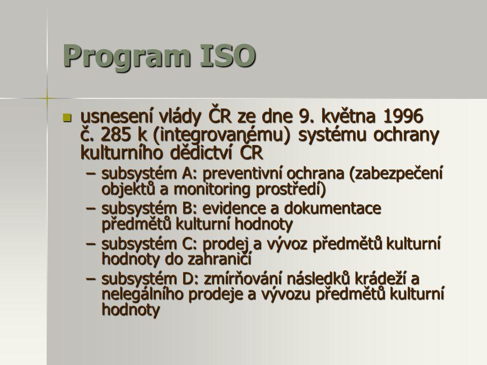 Program ISO usnesení vlády ČR ze dne 9. května 1996 č. 285 k (integrovanému) systému ochrany kulturního dědictví ČR.