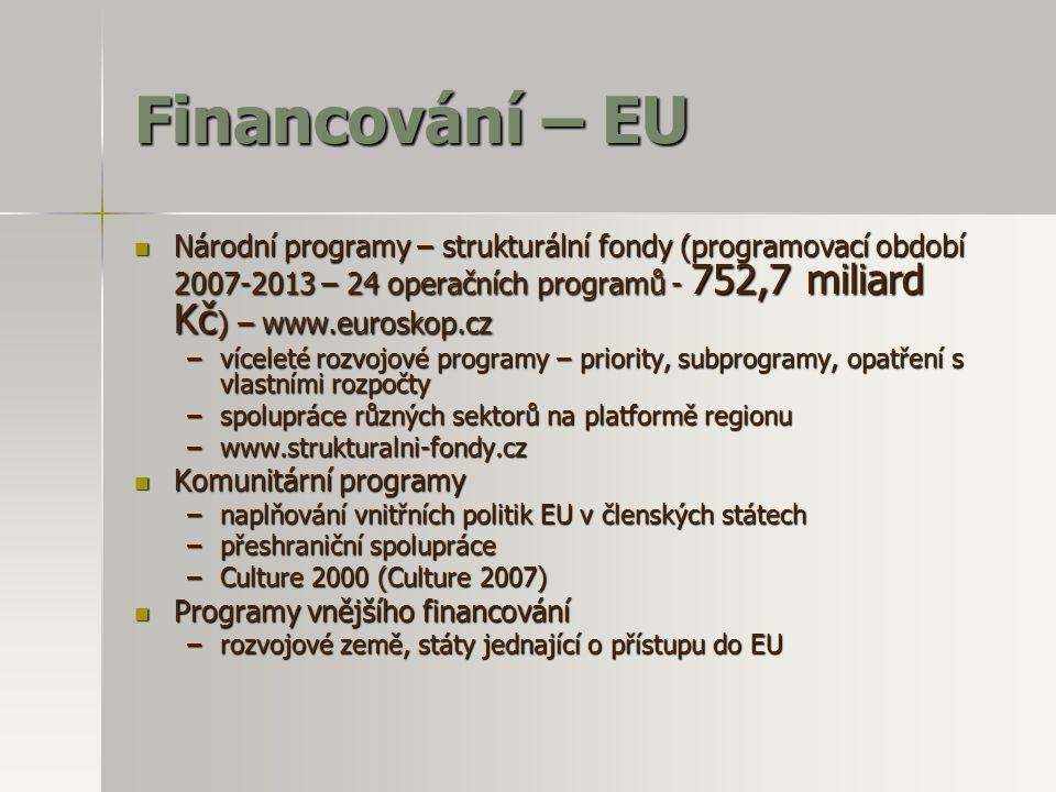 Financování – EU Národní programy – strukturální fondy (programovací období 2007-2013 – 24 operačních programů - 752,7 miliard Kč) – www.euroskop.cz.