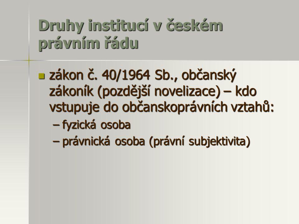 Druhy institucí v českém právním řádu