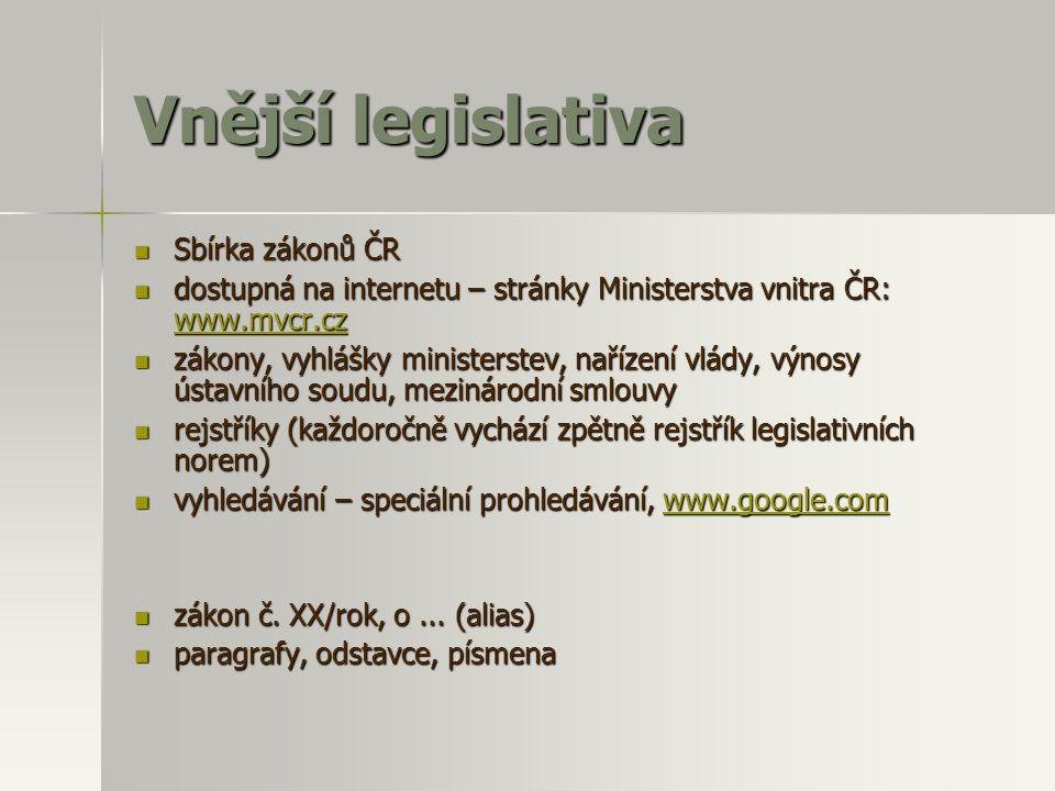 Vnější legislativa Sbírka zákonů ČR