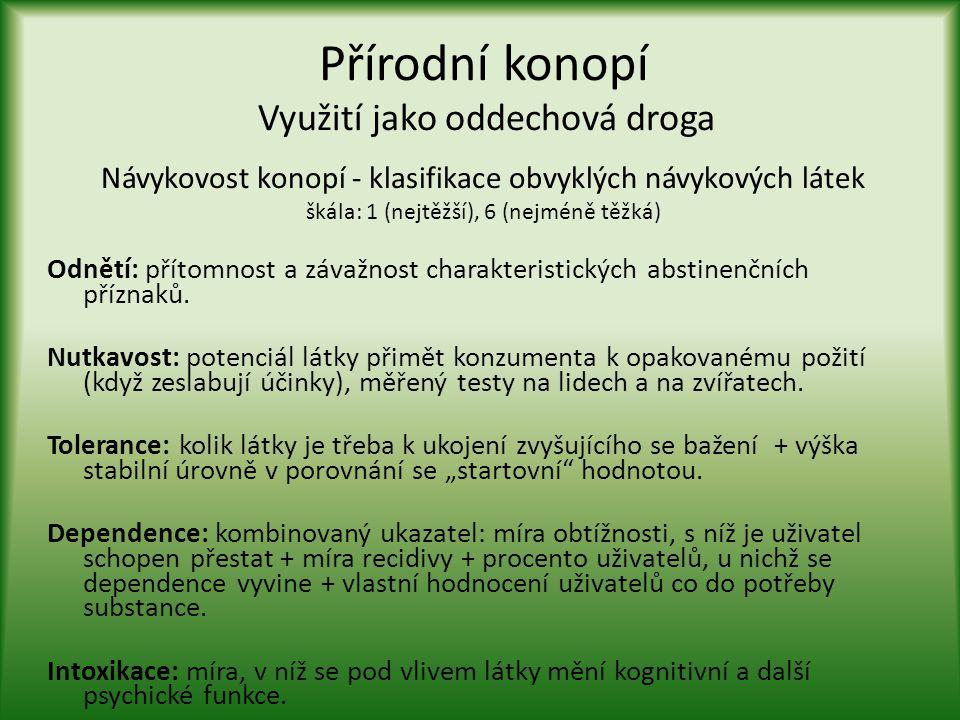 Přírodní konopí Využití jako oddechová droga Návykovost konopí - klasifikace obvyklých návykových látek škála: 1 (nejtěžší), 6 (nejméně těžká)