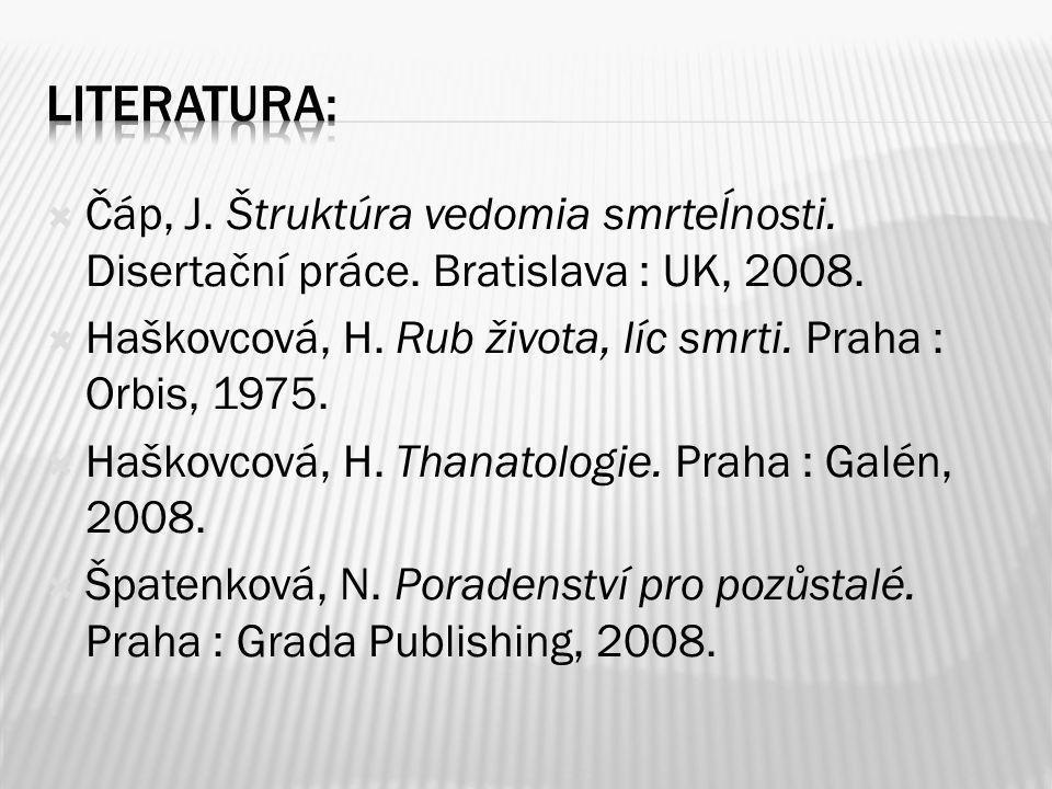 Literatura: Čáp, J. Štruktúra vedomia smrteĺnosti. Disertační práce. Bratislava : UK, 2008.