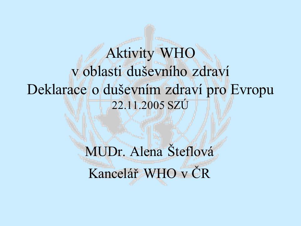MUDr. Alena Šteflová Kancelář WHO v ČR