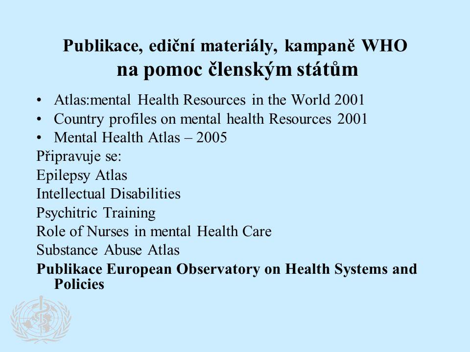 Publikace, ediční materiály, kampaně WHO na pomoc členským státům