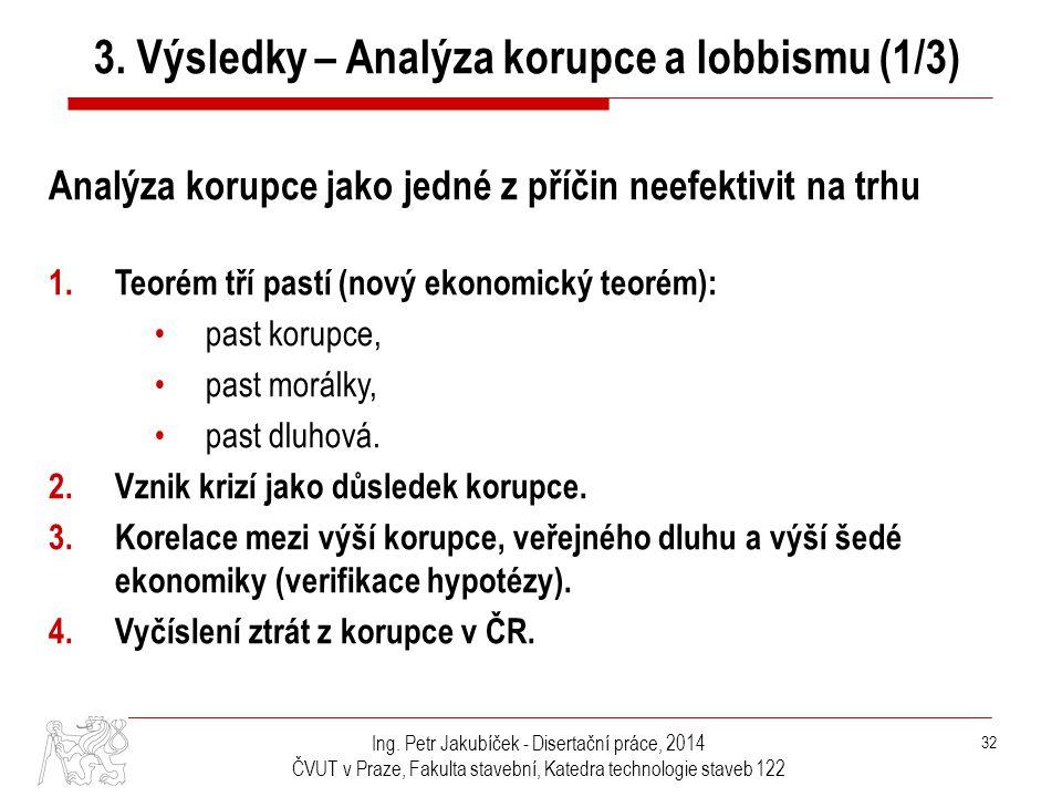 3. Výsledky – Analýza korupce a lobbismu (1/3)