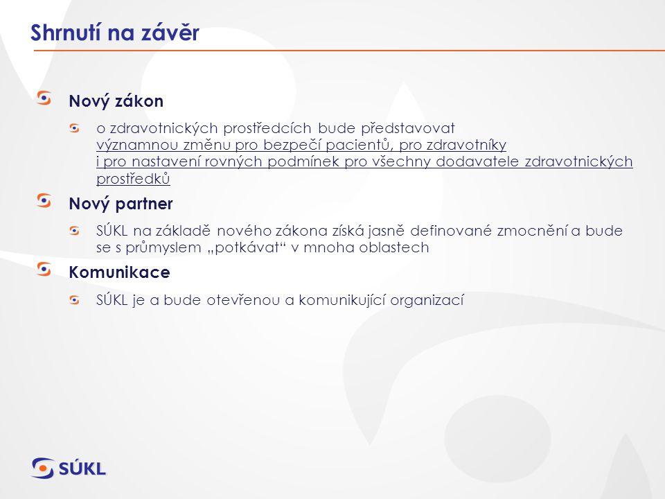 Shrnutí na závěr Nový zákon Nový partner Komunikace