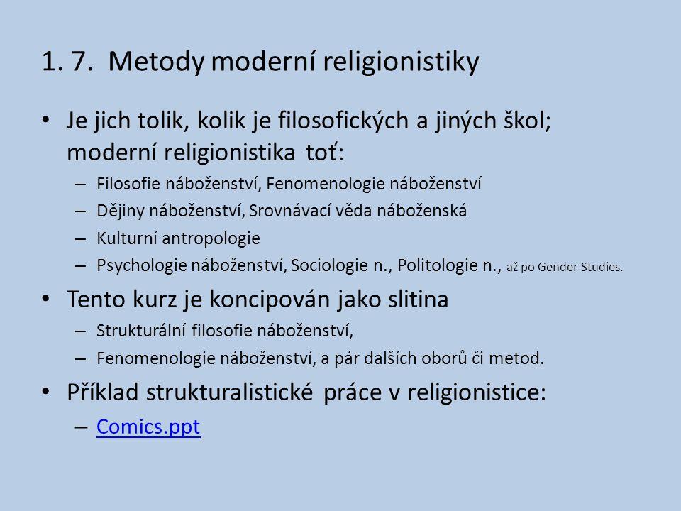 1. 7. Metody moderní religionistiky