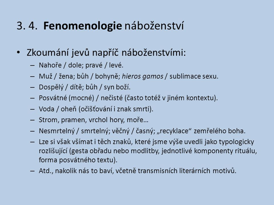 3. 4. Fenomenologie náboženství
