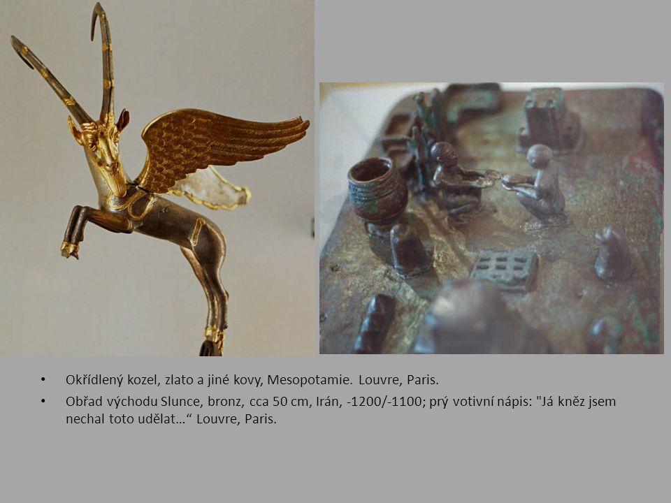 Okřídlený kozel, zlato a jiné kovy, Mesopotamie. Louvre, Paris.