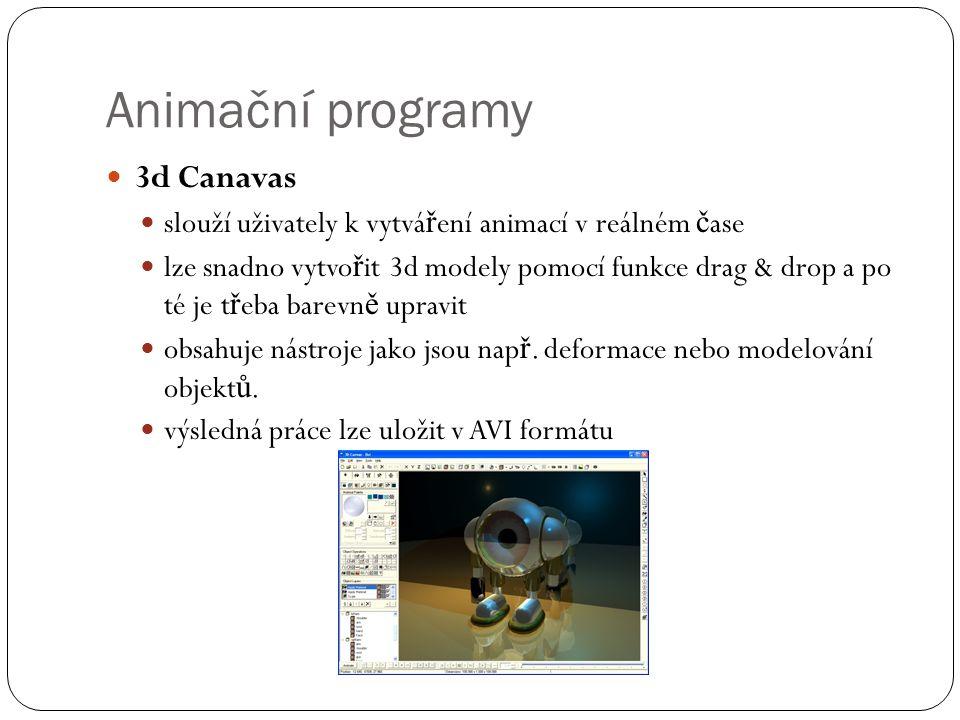 Animační programy 3d Canavas