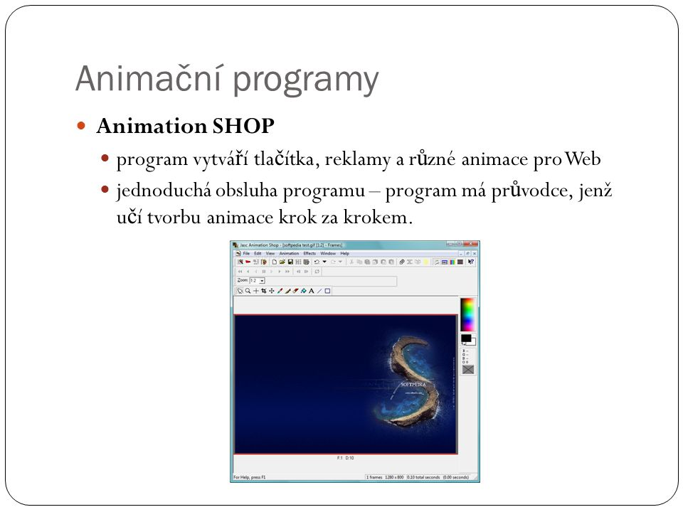 Animační programy Animation SHOP