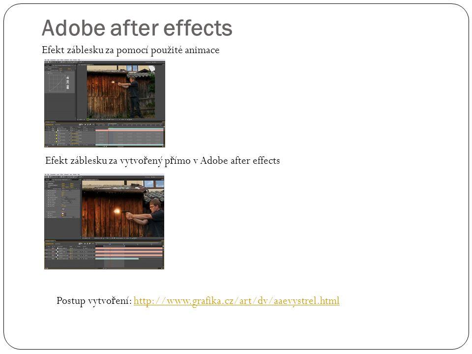 Adobe after effects Efekt záblesku za pomocí použité animace