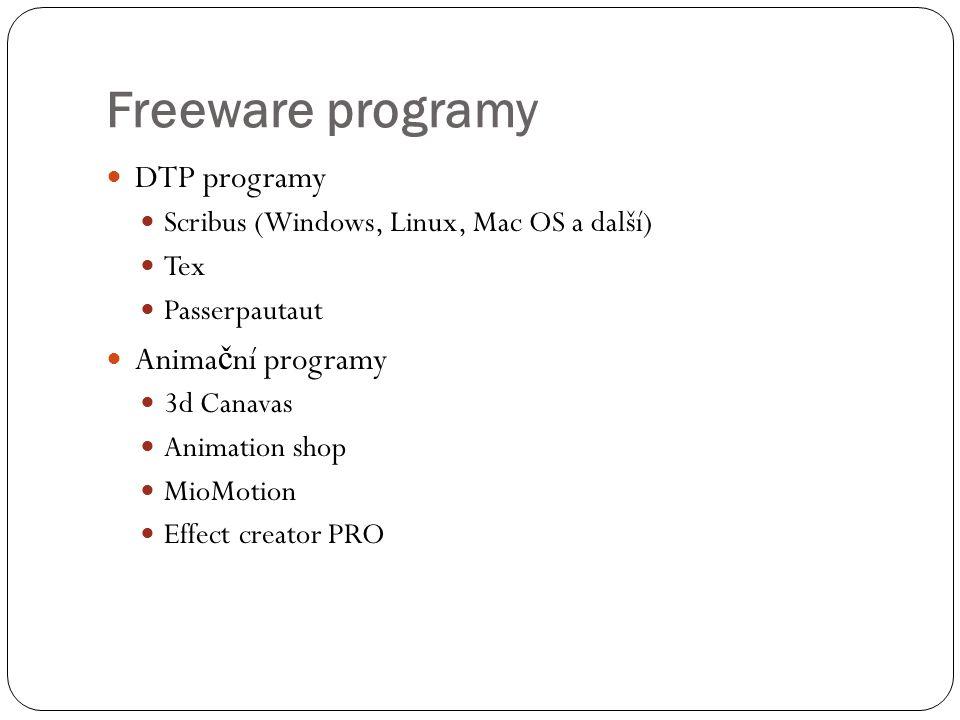 Freeware programy DTP programy Animační programy