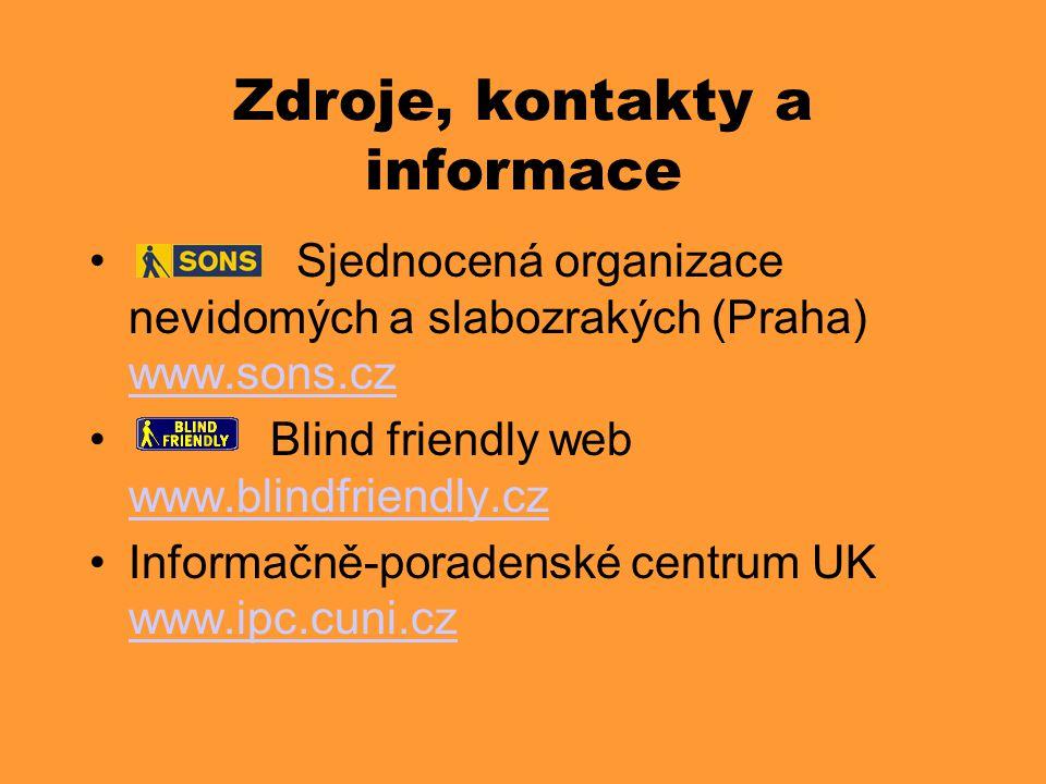 Zdroje, kontakty a informace