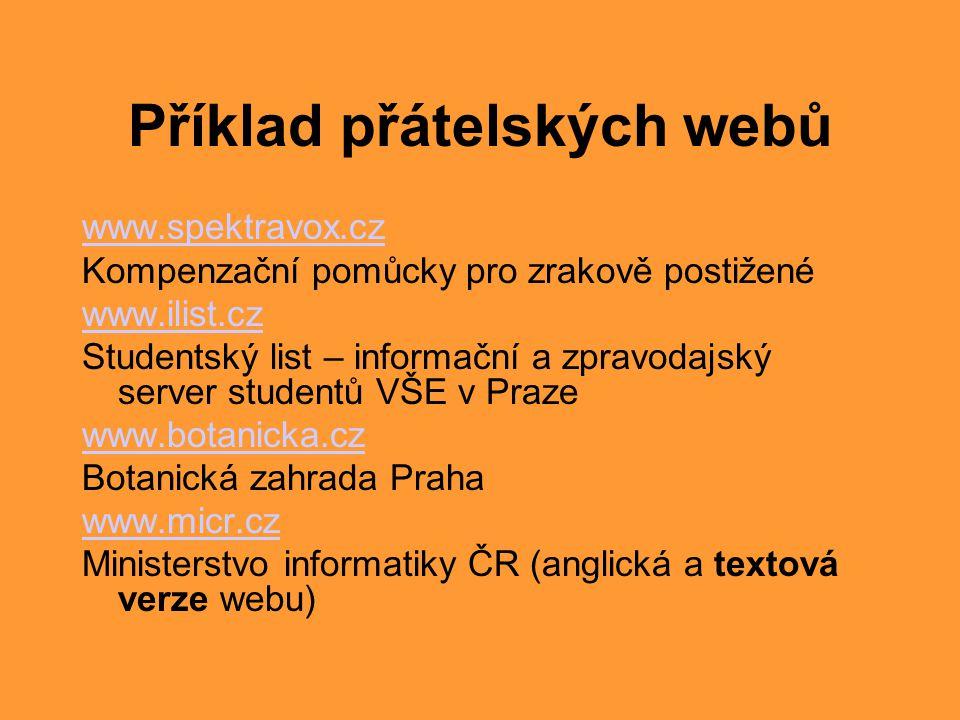 Příklad přátelských webů