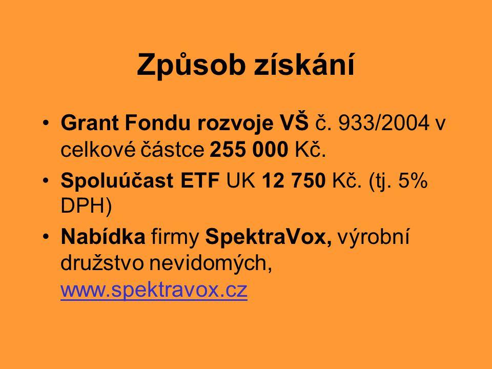 Způsob získání Grant Fondu rozvoje VŠ č. 933/2004 v celkové částce 255 000 Kč. Spoluúčast ETF UK 12 750 Kč. (tj. 5% DPH)