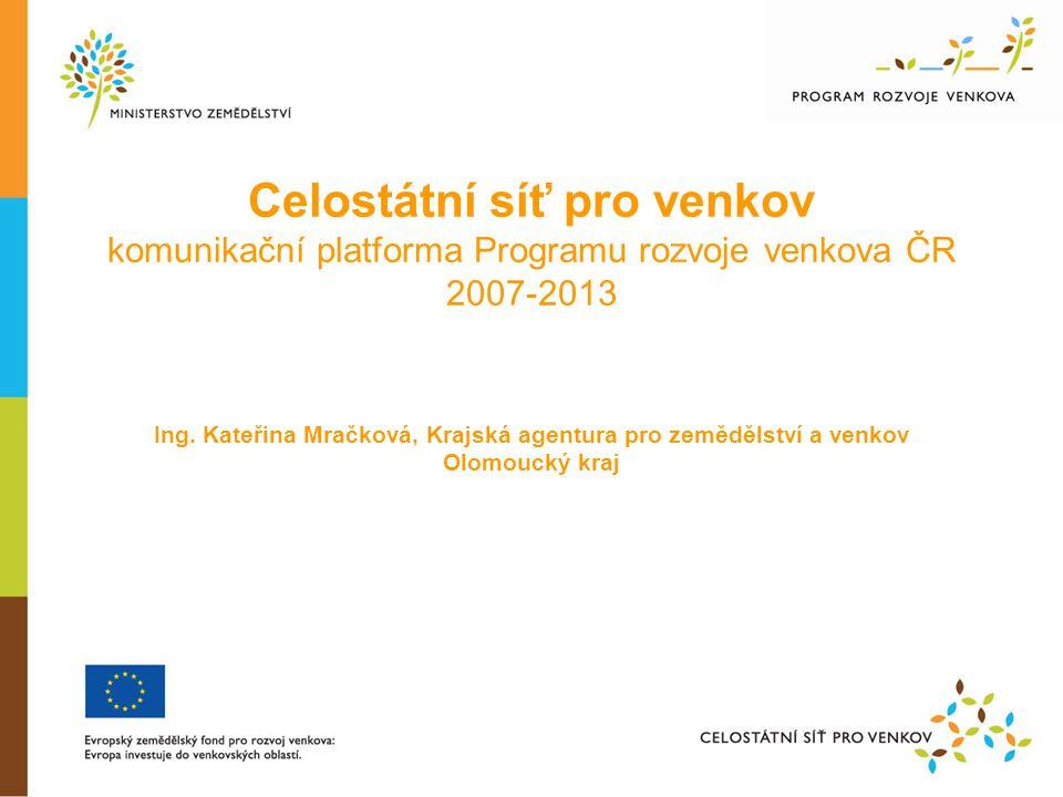 Celostátní síť pro venkov komunikační platforma Programu rozvoje venkova ČR 2007-2013 Ing.