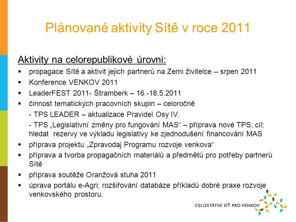Plánované aktivity Sítě v roce 2011