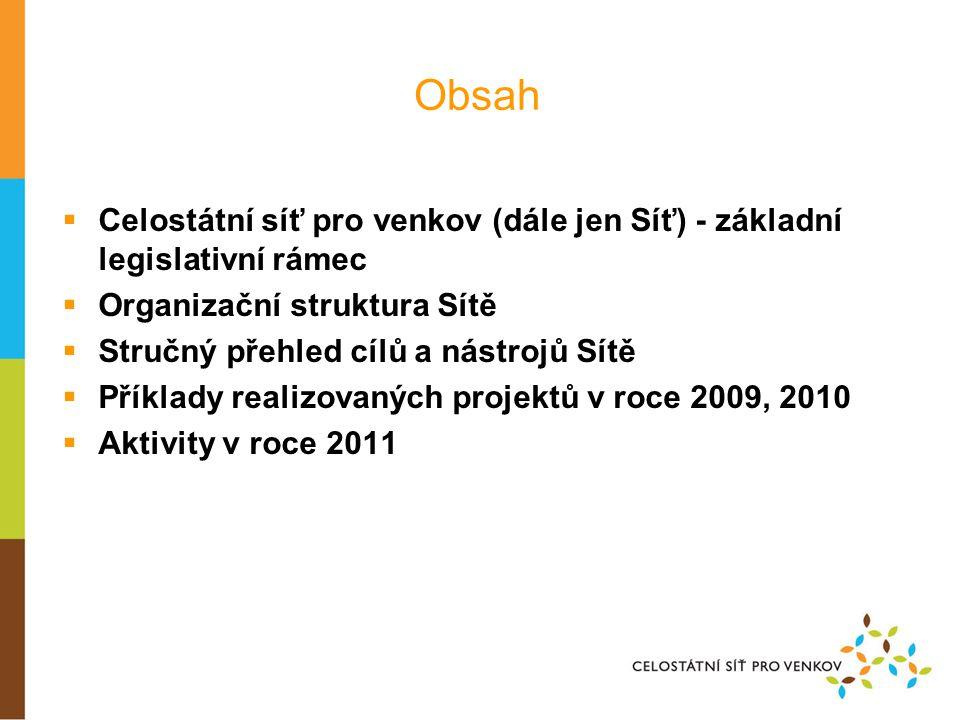 Obsah Celostátní síť pro venkov (dále jen Síť) - základní legislativní rámec. Organizační struktura Sítě.