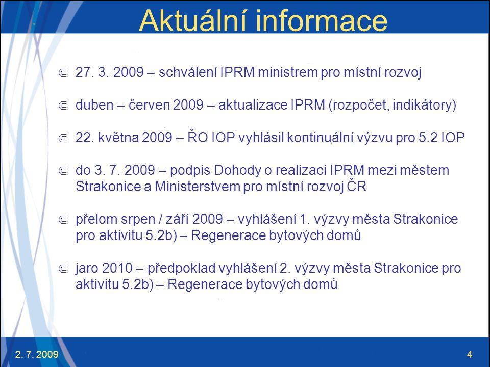 Aktuální informace 27. 3. 2009 – schválení IPRM ministrem pro místní rozvoj. duben – červen 2009 – aktualizace IPRM (rozpočet, indikátory)